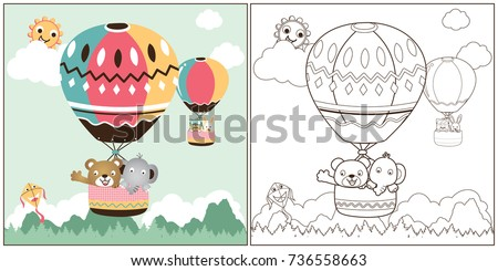vector cartoon of hot air balloon, coloring book or page