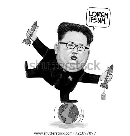 vector cartoon of kim jong un