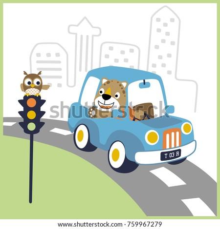 vector cartoon of leo on car