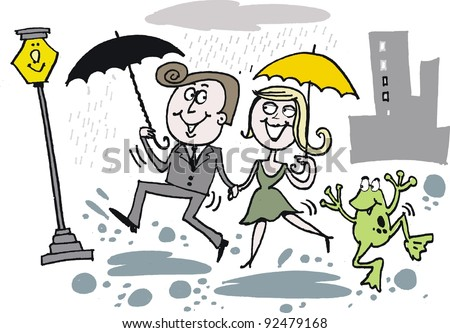Vector cartoon of man and woman dancing in the rain - stock vector