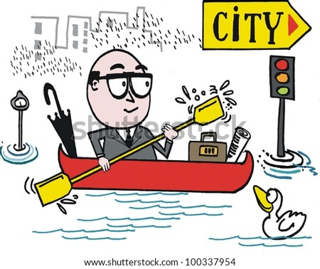Vector cartoon of man commuting to work in canoe