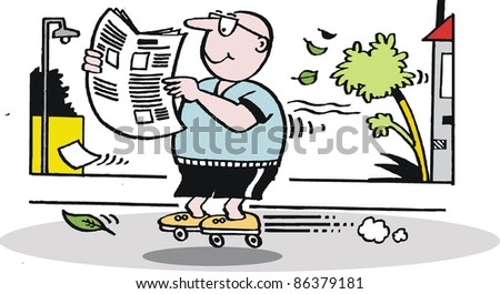 Vector cartoon of man on roller skates reading newspaper