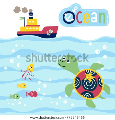vector cartoon of marine life