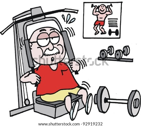 Vector cartoon of mature age man exercising in gym
