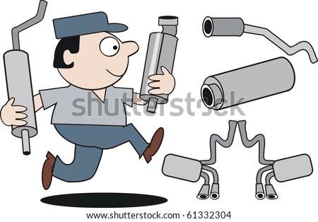 Vector cartoon of mechanic running with car mufflers.