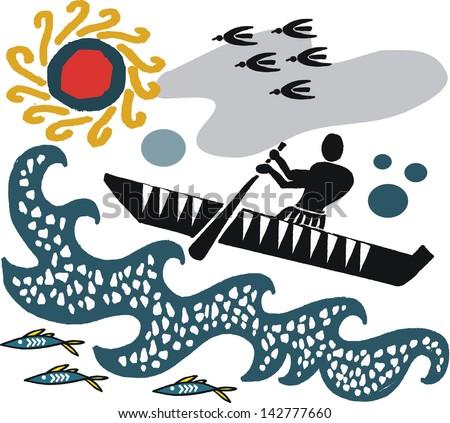 Vector cartoon of native paddling canoe in rough sea