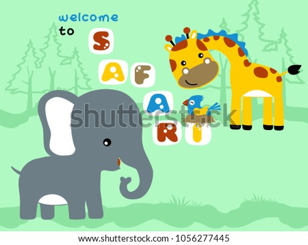 vector cartoon of nice animals