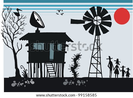 Vector cartoon of old Australian outback shack with satellite dish on roof