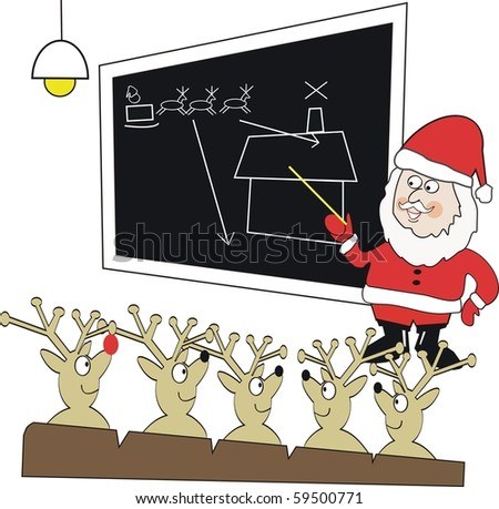 Vector cartoon of Santa Claus teaching reindeer in classroom.