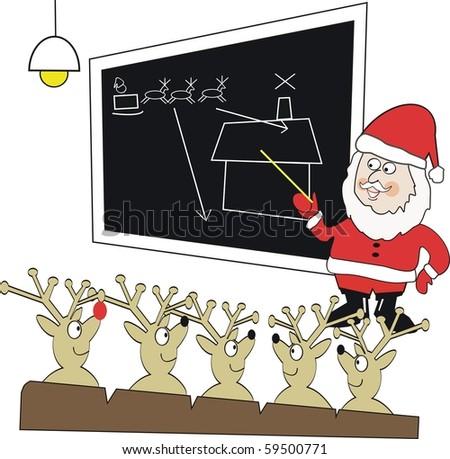 Vector cartoon of Santa Claus teaching reindeer in classroom.