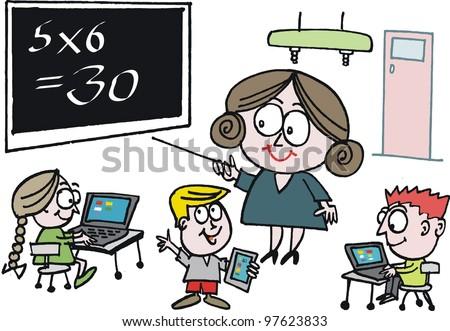 Vector cartoon of school teacher instructing pupils in classroom