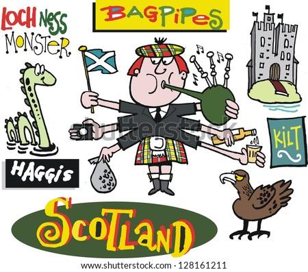 Vector cartoon of Scotsman with Loch Ness monster
