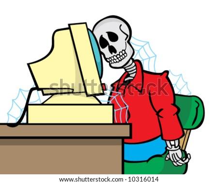 vector cartoon of skeleton of