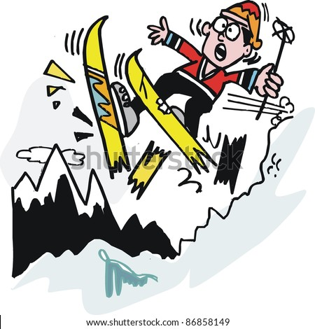 Vector cartoon of skier breaking skis on mountain