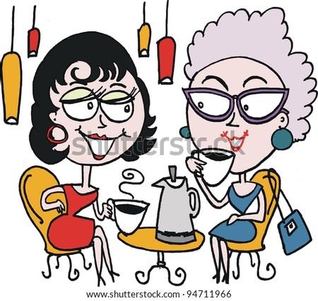 Vector cartoon of two women drinking coffee
