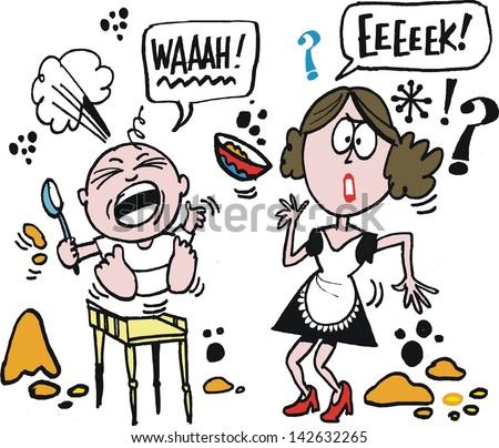 vector cartoon of woman trying
