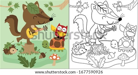 vector cartoon of woodland