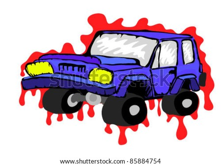 Vector cartoon off-road vehicle. Vector Tattoo  muscle car illustration,