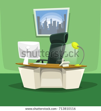 vector cartoon office desk