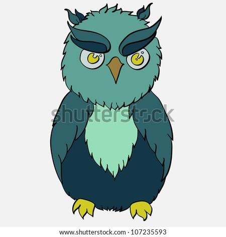 Vector cartoon owl. Cartoon bird.