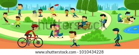 vector cartoon park family activity with people abstract faceless figure in sport and recreation with city scape silhouette background - Shutterstock ID 1010434228