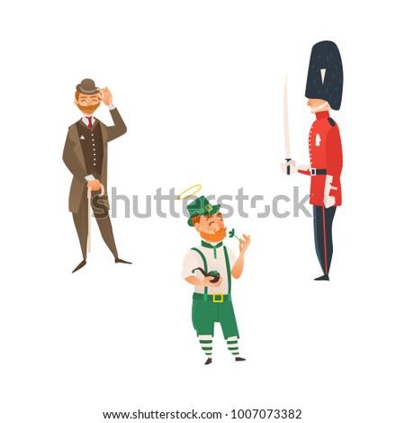 vector cartoon people in United kingdom national costumes set. English victorian gentleman in suit, hat holding cane umbrella, queen guardian, Irish man in leprechaun or Saint Patrick costume isolated