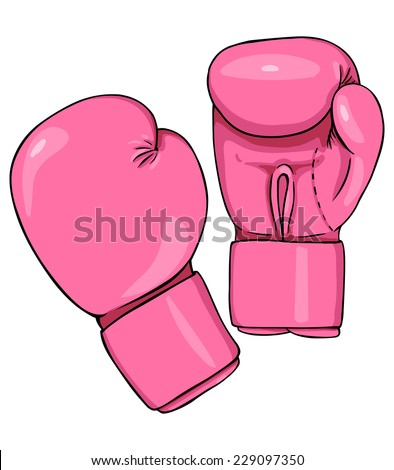 vector cartoon pink boxing