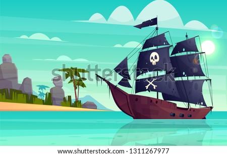 vector cartoon pirate ship on