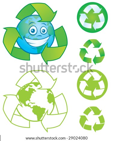 Vector cartoon planet Earth with recycle symbol and several vector recycle symbols and icons. Great mascot or logo for going green or recycling.
