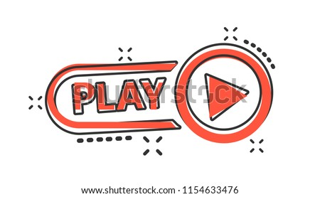 Vector cartoon play button icon in comic style. Play video sign illustration pictogram. Media panel business splash effect concept.