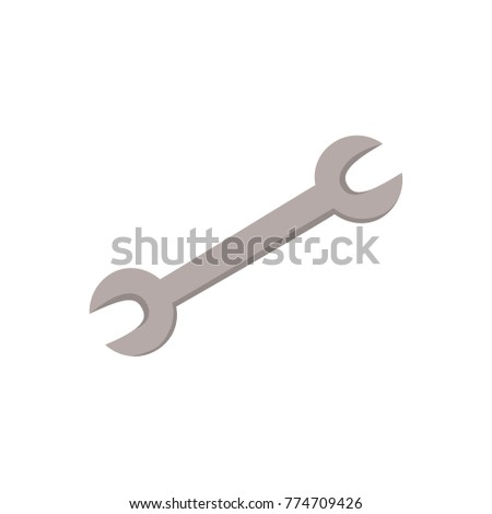vector cartoon plumbing or mechanic wrench or spanner manual worker tool or equipment. Car maintenance, service design object. Isolated illustration on a white background.