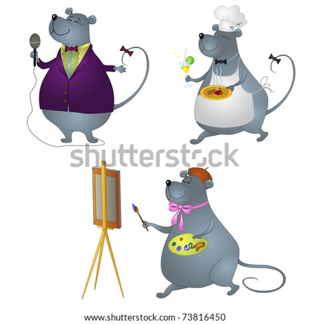 Vector cartoon: rats professionals, set: singer, artist and cook