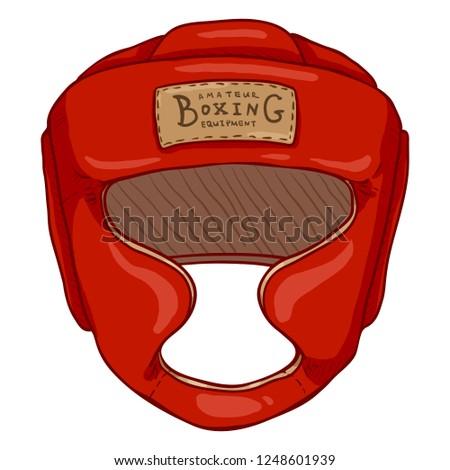 Vector Cartoon Red Boxing Training Helmet