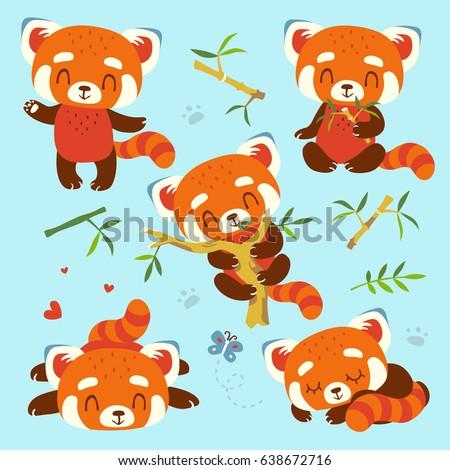 vector cartoon red panda set