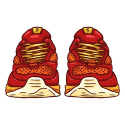 Vector Cartoon Red Running Shoes. Front View.
