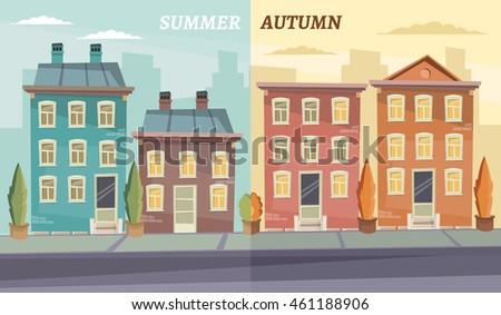 Vector cartoon retro illustration city houses facades landscape. #461188906