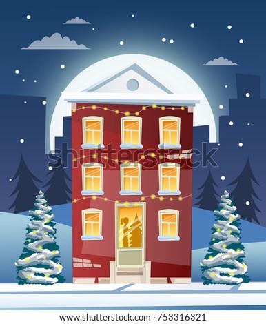 Vector cartoon retro merry Christmas night illustration city houses facades landscape poster vintage Santa Claus deer.