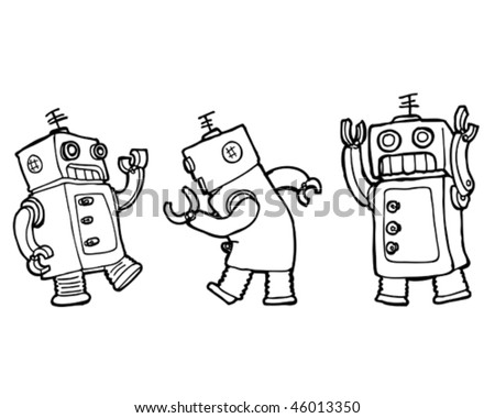 Vector cartoon robots dancing the robot (line)