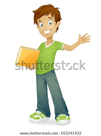 vector cartoon school boy with book smiling and waving isolated on white