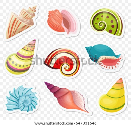 Vector cartoon sea shells stickers set on the transperant alpha background.