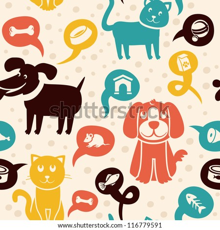 Vector cartoon seamless pattern with funny cats and dogs  -