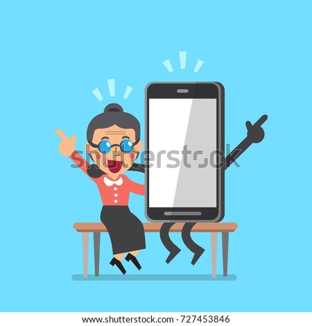 Vector cartoon senior woman and smartphone character