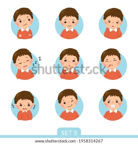 Vector cartoon set of a little boy in different postures with various emotions. Set 3 of 3.