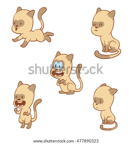 vector cartoon set of cute