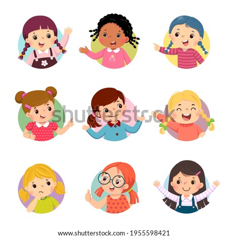 Vector cartoon set of different girl kids with various postures.