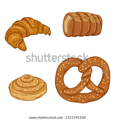 Vector Cartoon Set of Fresh Baked Pastry Items. European Desserts and Snacks.