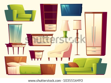 Vector cartoon set of furniture modern interior creation indoor furnishings