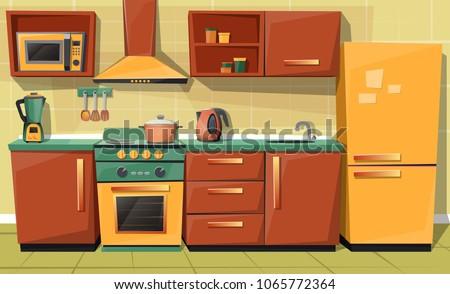 vector cartoon set of kitchen