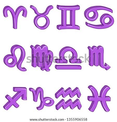 Vector Cartoon Set of 12 Purple Zodiac Signs.