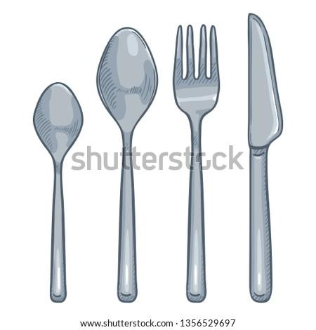 Vector Cartoon Set of Steel Cutlery. Knife, Fork, Spoon, Tea-spoon
